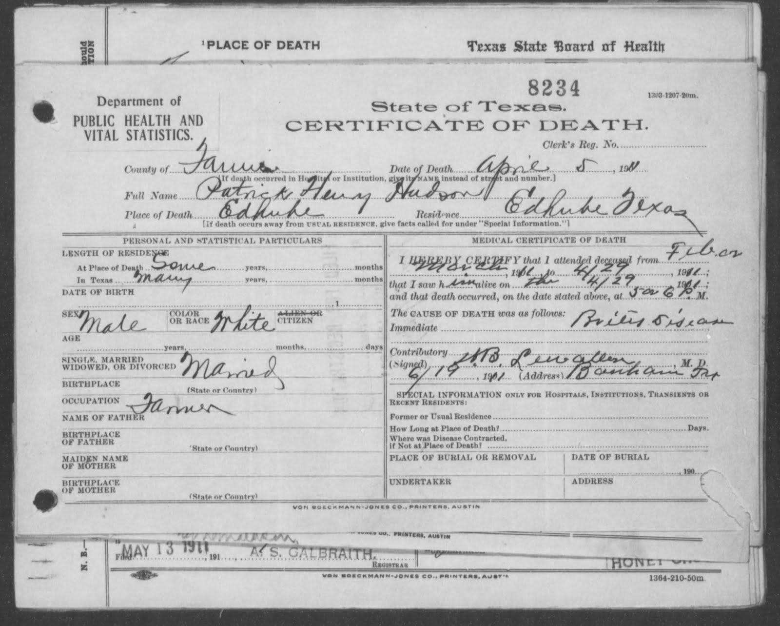 Leahs family tree july 2011 the three death certificates of patrick henry hudson 1betcityfo Choice Image
