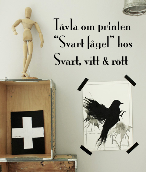 t&auml;vla om en print, t&auml;vling, bloggt&auml;vling, artprint i svart och vitt, poster i svart och vitt, tavla i svart och vitt, tavla svart f&aring;gel, black bird print, 