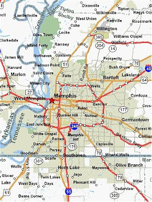 Map of Memphis area Tennessee