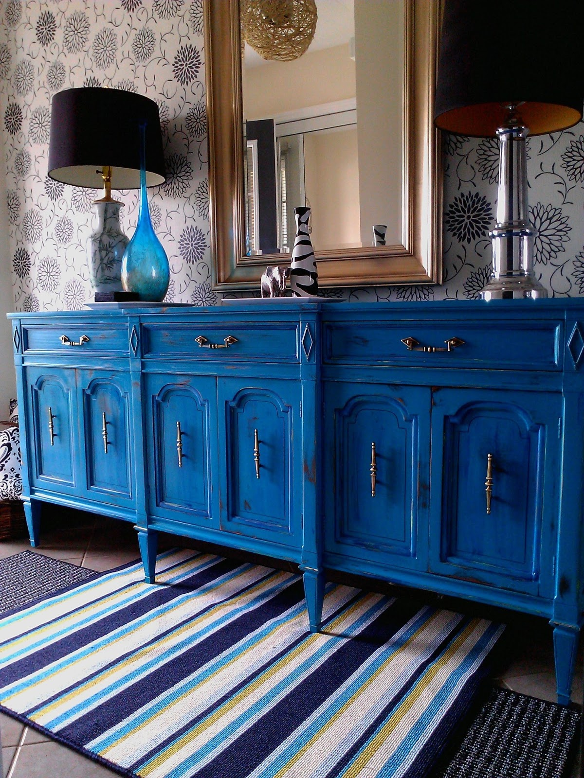 Re Tiqued By Rae Bond Distressed Turquoise Buffet Dresser