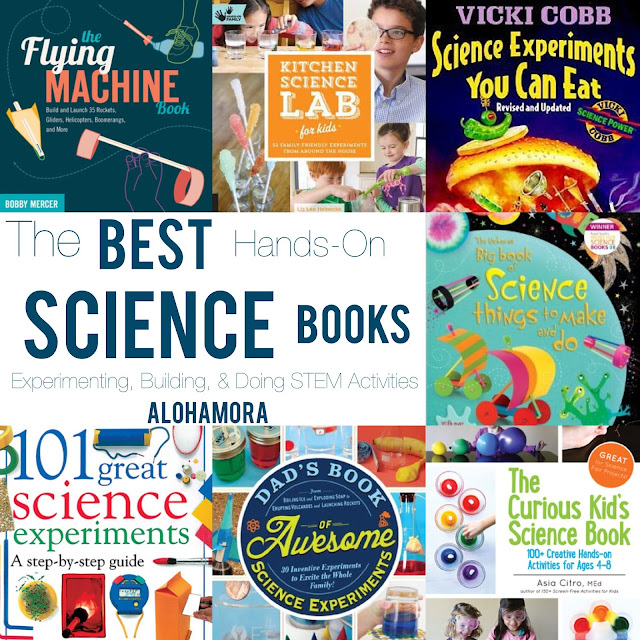 The Best Hands-On Science/STEM books to do experiments, building contraptions, doing activities with kids (toddler to teens), and  getting kids working the STEM side of their mind.  Great books for everyone have fun with science with things around the house.  Alohamora Open a Book http://www.alohamoraopenabook.blogspot.com/ book list, science, elementary, middle, high school, parents,