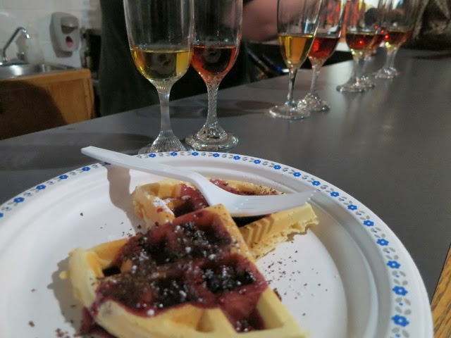 Waffle topped with berry reduction + Vidal Icewine + Cab Franc Icewine at Magnotta Winery