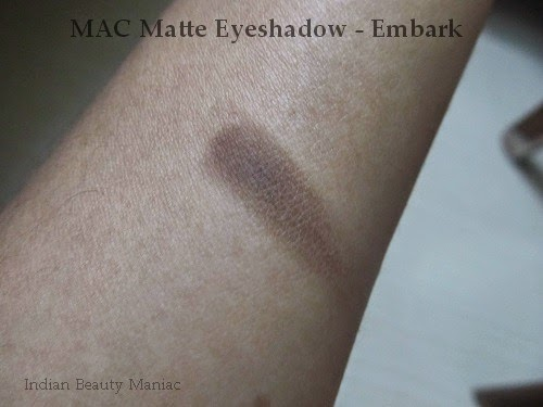 MAC Matte Eyeshadow Embark, brown eyeshadow, crease color, outer v eyeshadow, mac eyeshadows in india, versatile mac eyeshadow