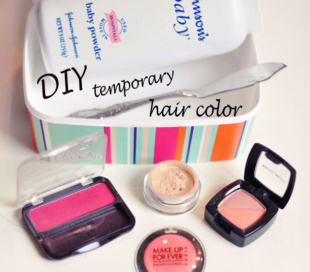 DIY Temporary Hair Color with Eye Shadow