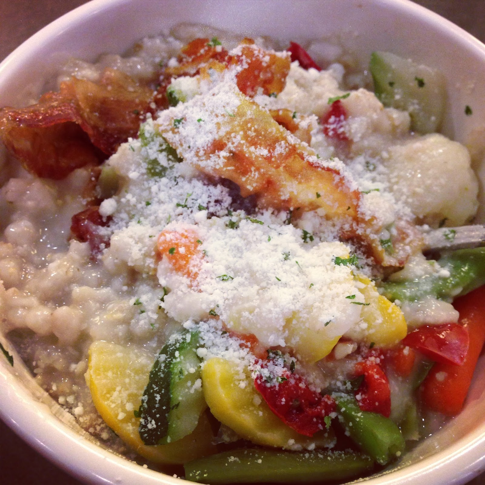 Savory Oatmeal with Bacon, Mixed Steamed Vegetables, and Parmesan Cheese