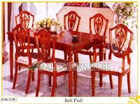 Kursi dan Meja Makan Ukiran Kayu Jati Itali Padi