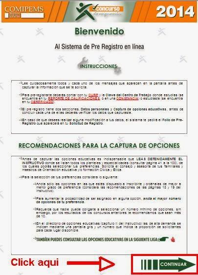 www.comipems.org.mx Pre Registro COMIPEMS 2014 via Internet