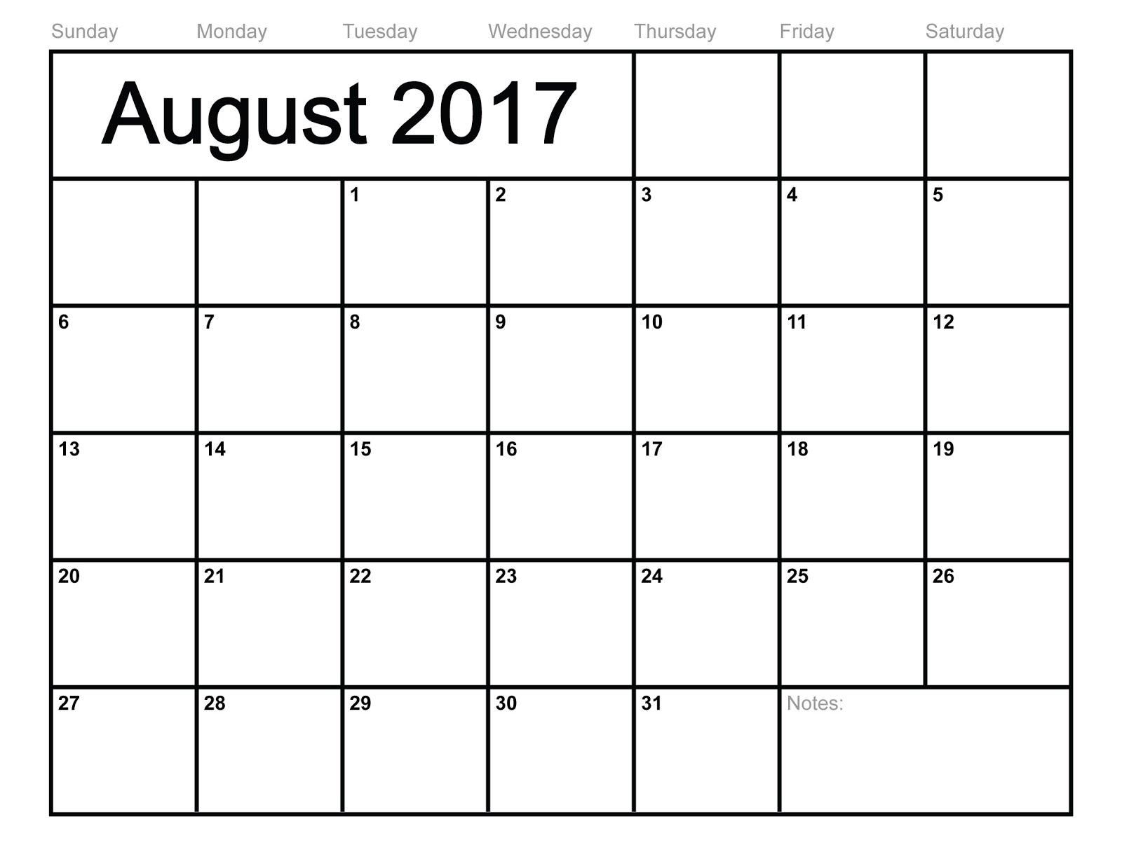 August 2017 Printable Calendar | August 2017 Blank Calendar ...