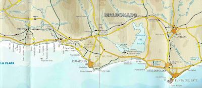 Mapa rodoviário da região de Punta Del Este - Uruguai