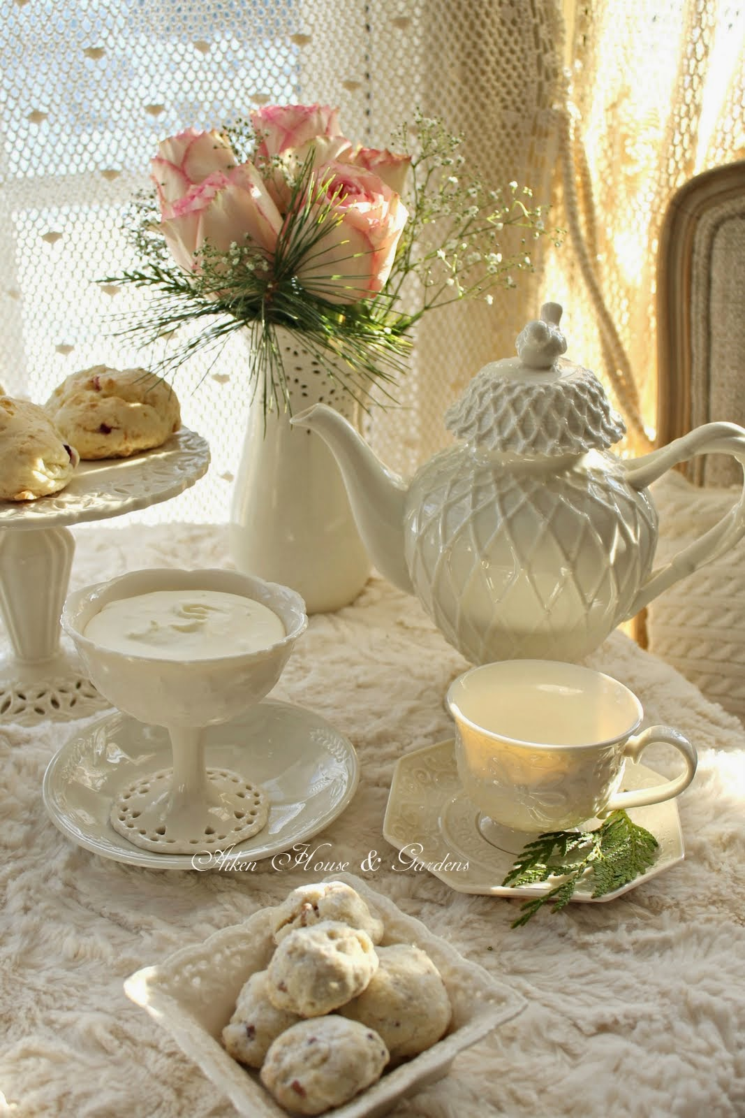 Welcome~ With The Cold Days Of Winter Still Upon Us I Am Enjoying Having  Tea By The Kitchen Bay Window That Overlooks Our Snow Covered Garden.