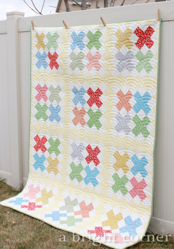 Cross Stitch quilt pattern in 1930's reproduction fabrics