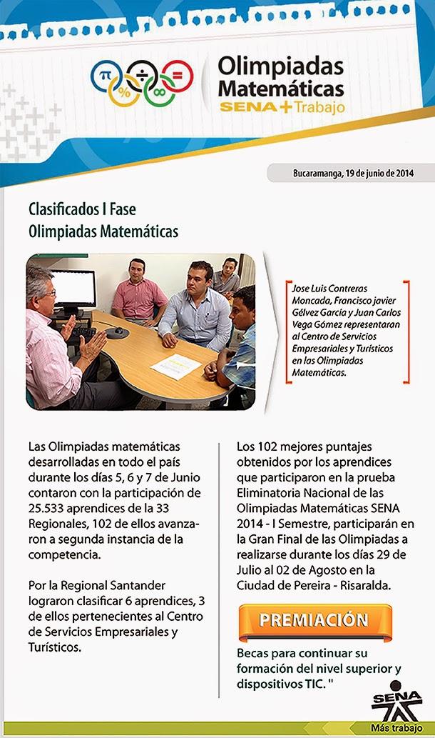 Clasificados I fase Olimpiadas Matemáticas, Centro de Servicios Empresariales y Turísticos SENA.