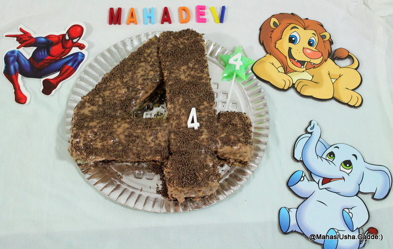 Mahaslovelyhome Number 4 Shaped Birthday Cake With Step By Step