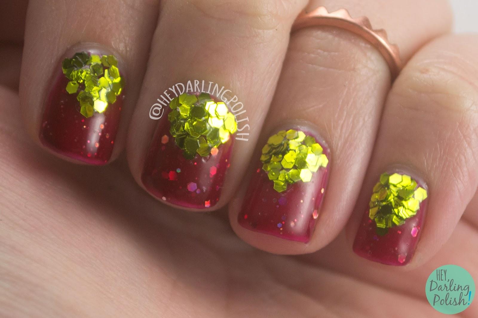 nails, nail art, nail polish, red, gold, glitter, indie polish, indie nail polish, shirley ann nail lacquer, hey darling polish, 52 week challenge