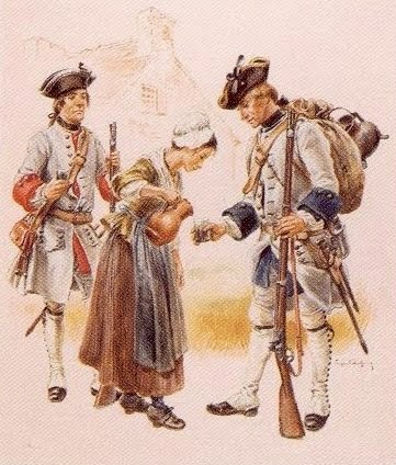 A Bittburg peasant girl offers water to local militiamen.