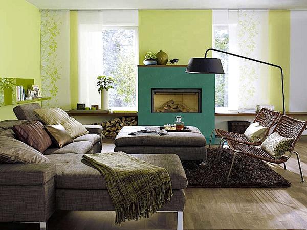 Decoracion En Paredes Verdes ~ En este dise?o de sala vemos paredes verdes en un tono m?s suave que