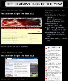 Best Christian Blog of the Year 2008 and 2009