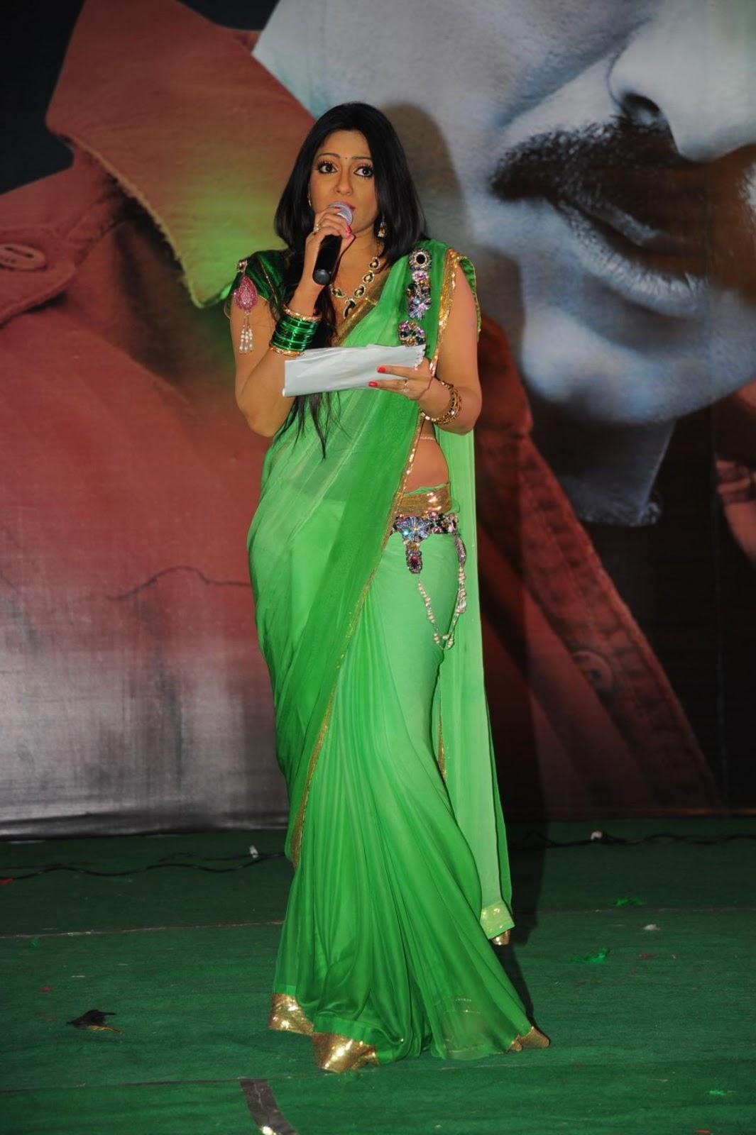 Udaya bhanu in light green saree
