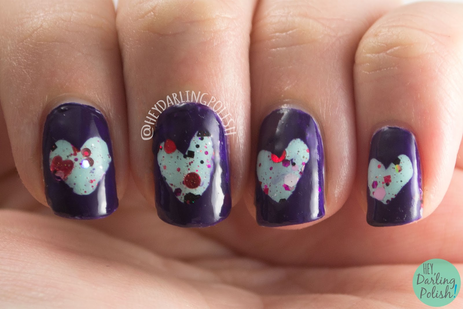 shot through the heart, heart, purple, blue, glitter, nails, nail art, nail polish, hey darling polish, ice polish, indie polish,