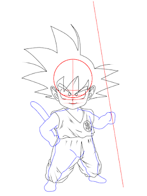 cara menggambar Goku kecil tahap 11