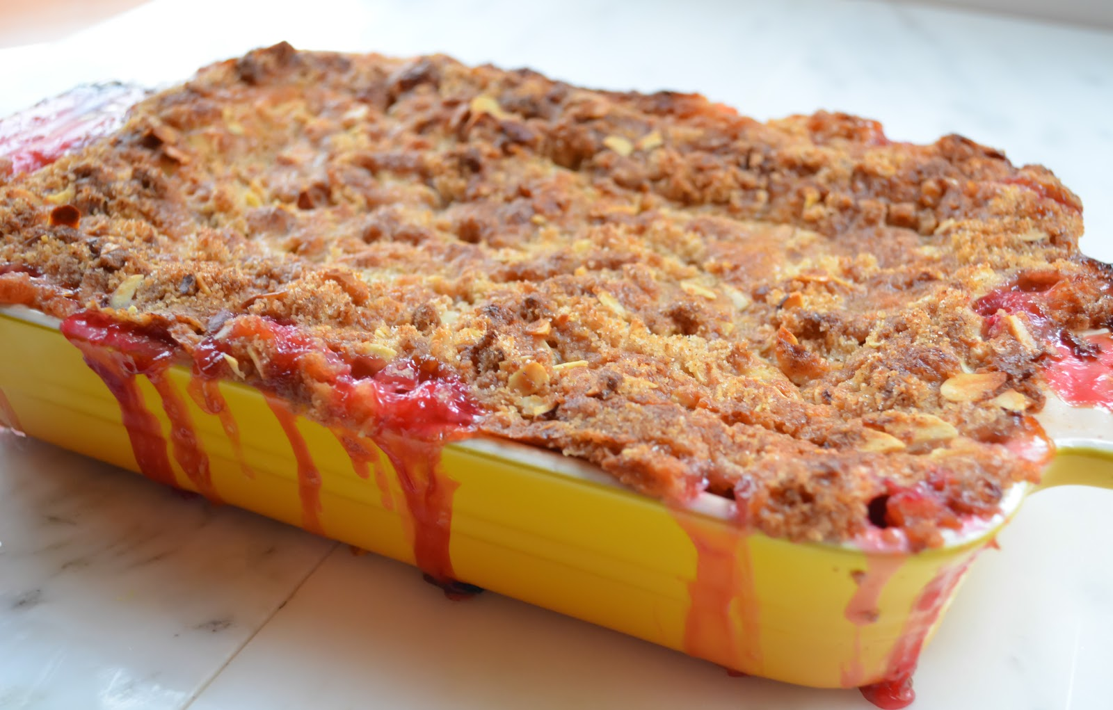 Peach Raspberry Almond Cobbler