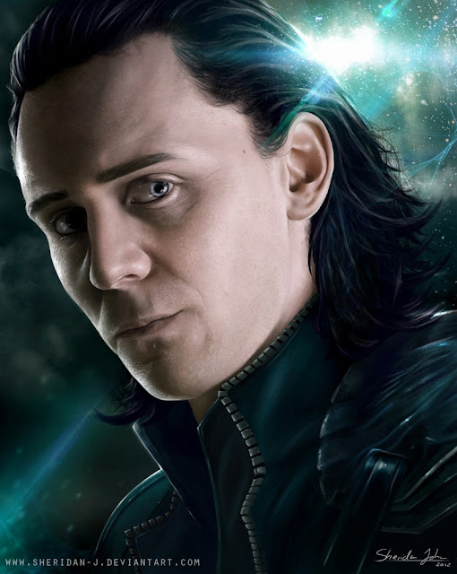The Avengers Poster Challenge wallpaper Paintings of Sheridan Johns |  Loki |  Loki (comics) | Tom Hiddleston as Loki | Totally Cool Pix | big picture | totallycoolpix | The Avengers wallpaper | 3d movie painting | painting wallpaper | Sheridan Johns painting | realistic painting | water color painting | water colour painting