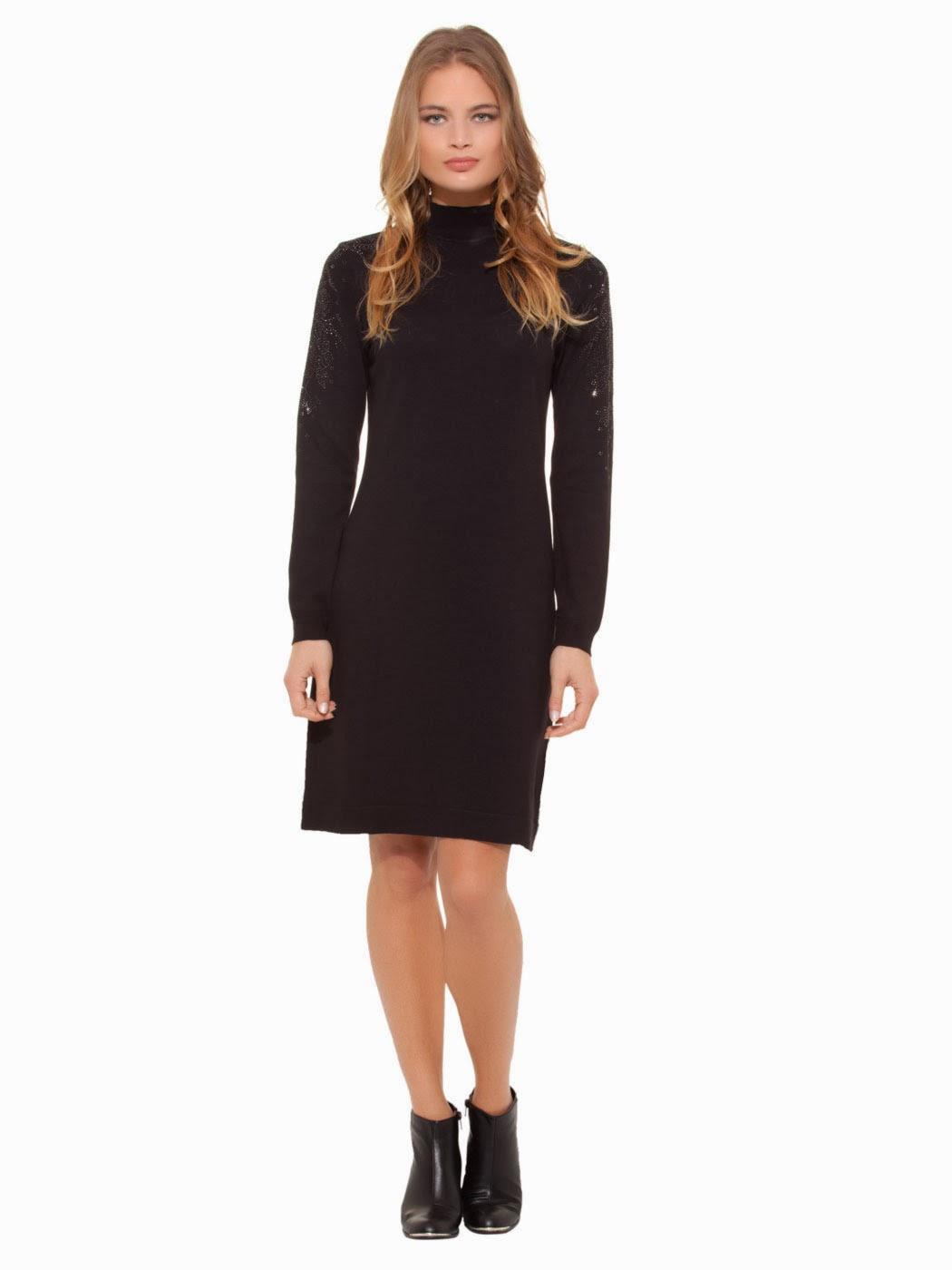 boğazlı elbise, siyah elbise