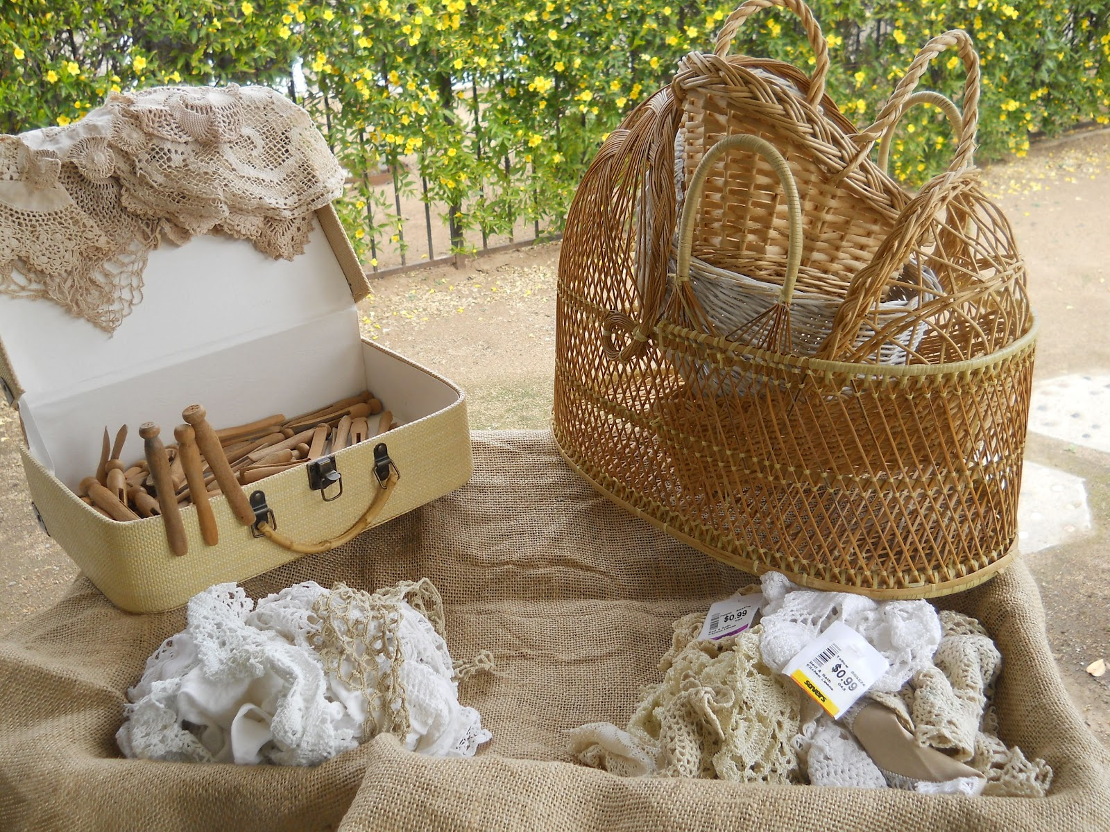 Collections Included Lace Doilies, Baby Baskets, Burlap And Old Clothespins