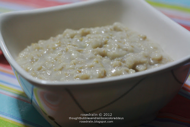 Plain rolled oats with skim milk and muscovado sugar