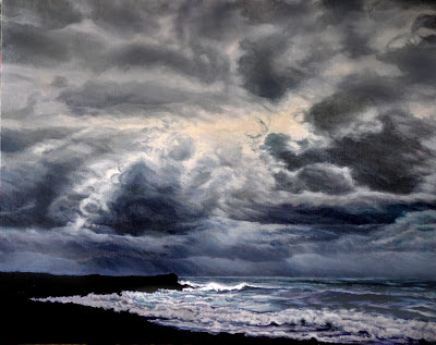 original oil painting, dark gray, clouds, waves, surf, beach, ocean, storm, black lava beach, atmospheric, mood