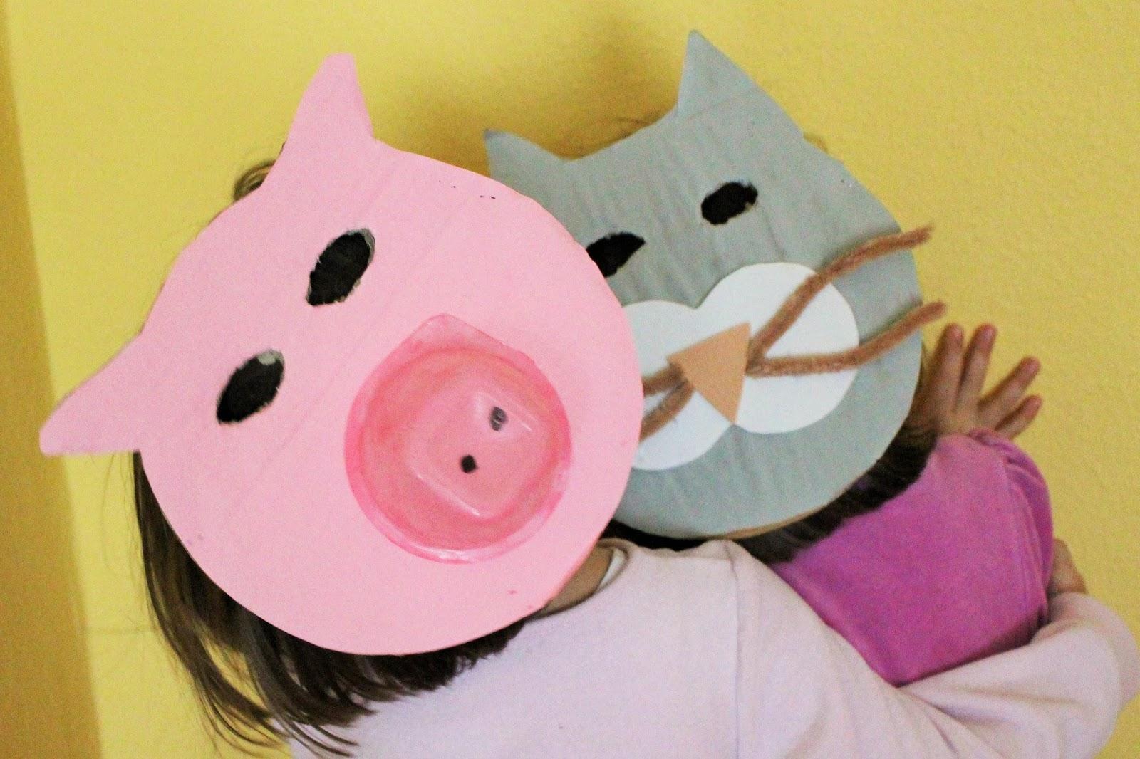 Mamma gioca maschera da maialino e maschera da gatto for Maialino disegno per bambini