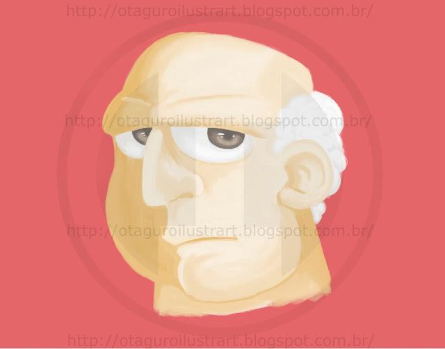 Esboço de um homem velho colorido