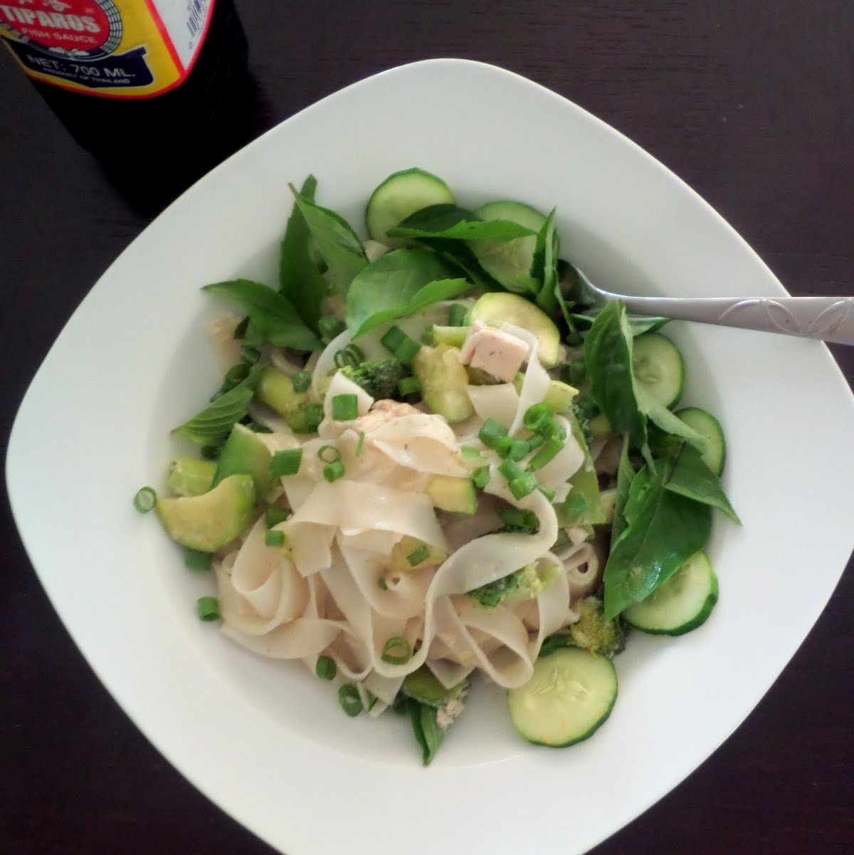 Chicken Green Curry Noodles:  A light and flavorful, but spicy, green curry with chicken, veggies, and broad rice noodles.