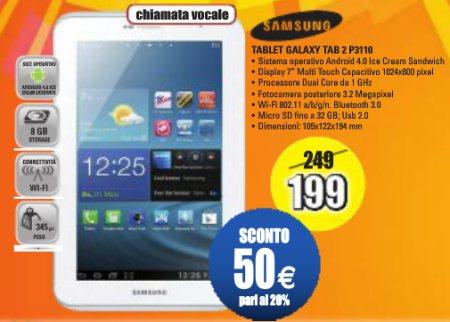Scontato di 50 euro il Galaxy Tab 2 P3310 proposto a 199 euro fino a metà febbraio da Expert