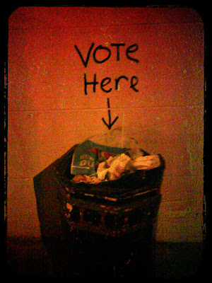 Voting booth as trash can