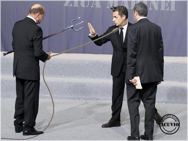 Funny photo Traian Băsescu si Nicolas Sarkozy