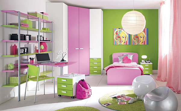 Interior Design Pink And Green Kids Room