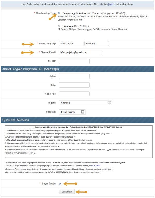 screenshot formulir pendaftaran bahasainggris.net