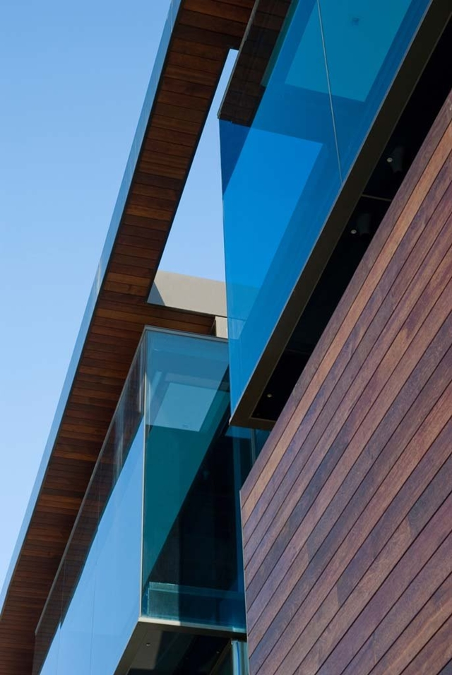 Wood and glass facade