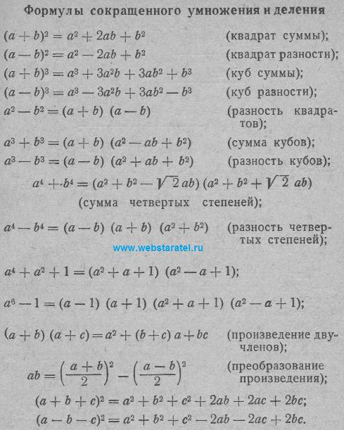 Формулы сокращенного умножения. Квадрат суммы, квадрат разности, разность квадратов, куб суммы, куб разности, произведение двучленов, преобразование произведения. Математика для блондинок.