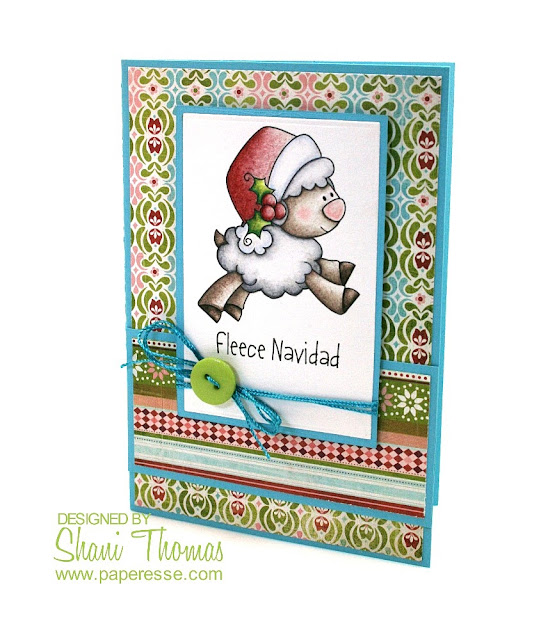 Fleece Navidad – Christmas card with Whimsie Doodles digital stamp colored with Caran d'Ache Luminance 6901 pencils.