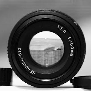 Tampak depan lensa Seagull 50mm f/1.8