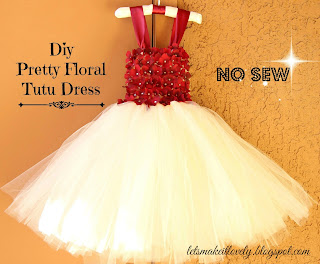 DIY No Sew Tutu Dress. DIY Flower Girl Dress. DIY Floral Tutu Dress. DIY No Sew Dress.