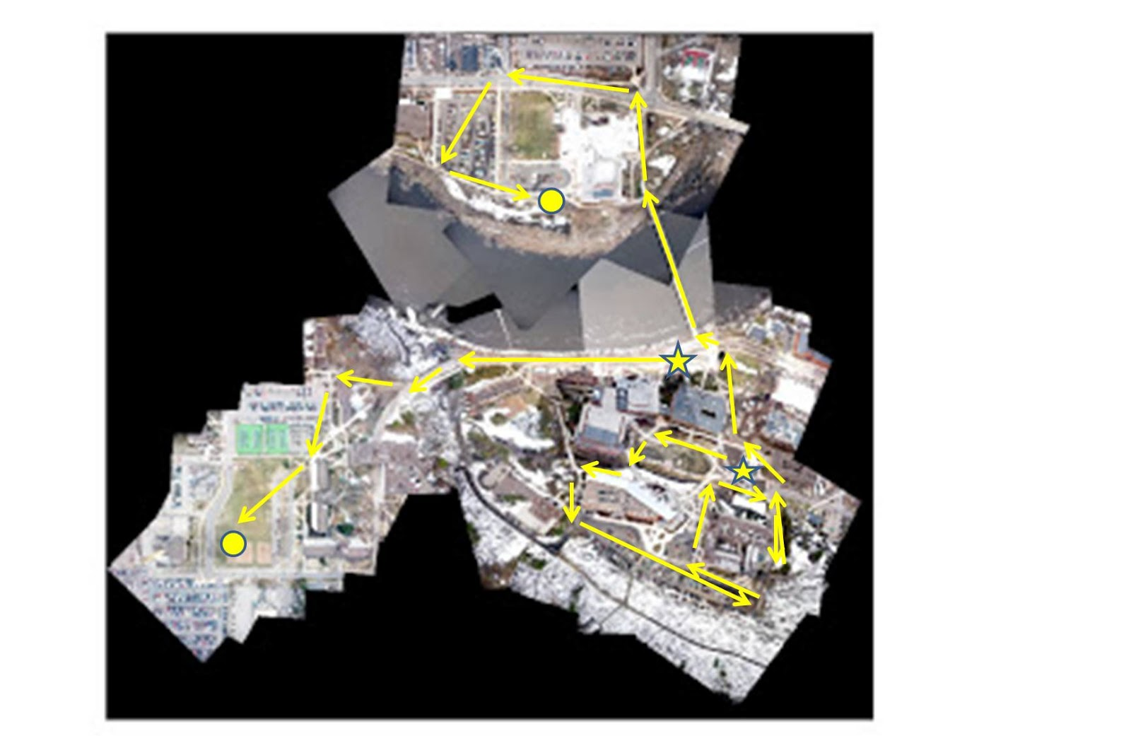 these are the routes we used to guide the mapping rig around campus the arrows are indicating the direction of travel