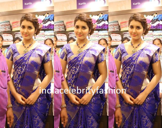 Raashi khanna in blue kanjivaram saree