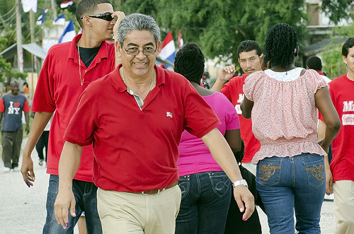 Deputy Prime Minister Hon. Gaspar Vega arrives at Orange Walk East, makes way to polling station.