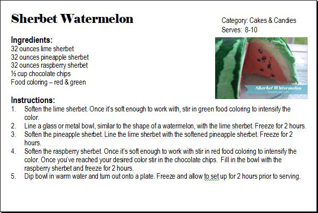 Fluster Buster: Ice Cream Recipe - Sherbet Watermelon