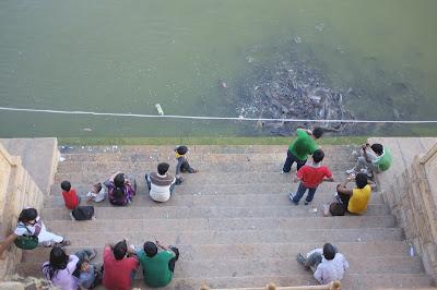 Locals feeding the catfish