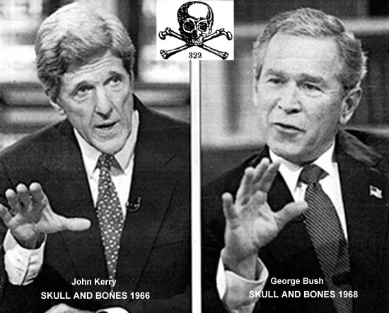 Kerry  with fellow Bonesman George Bush