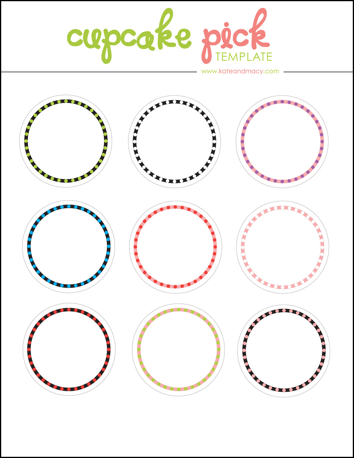 Click here to download your own free cupcake pick template!